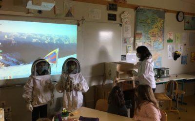 Intervention de Vanessa avec sa ruche pédagogique à l'école de Boult, mai 2021